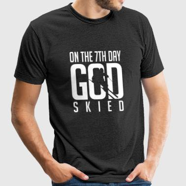 Skiing - Skiing: On the 7th god skied - Unisex Tri-Blend T-Shirt by American Apparel