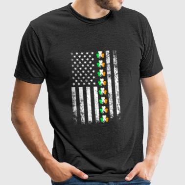 St patricks day - Irish With Flag Usa Shirt St P - Unisex Tri-Blend T-Shirt
