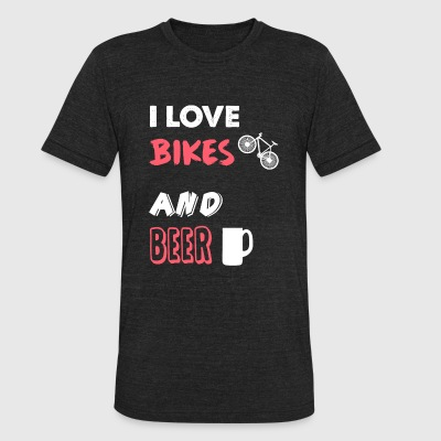 Bicycle - I Love Bikes and Beer - Bicycle, Cycli - Unisex Tri-Blend T-Shirt by American Apparel