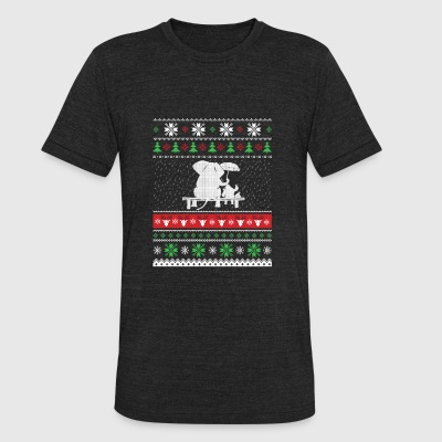 Elephant with Santa Claus - Christmas gift - Unisex Tri-Blend T-Shirt by American Apparel