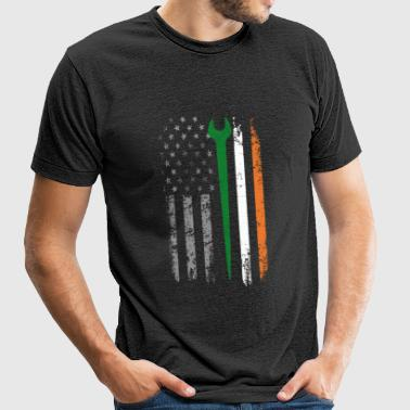 Irish iron worker - Irish flag T - shirt - Unisex Tri-Blend T-Shirt