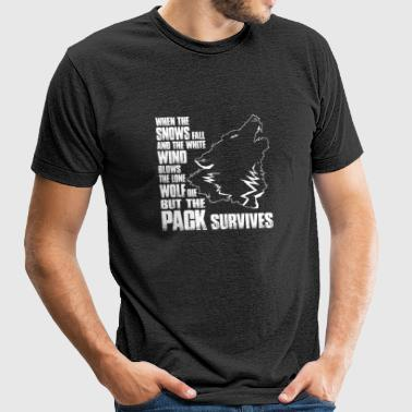 Wolf - When the snows fall and the white wind bl - Unisex Tri-Blend T-Shirt by American Apparel
