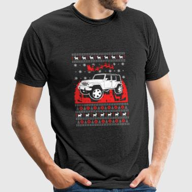 Jeep Ugly Christmas Sweater - Unisex Tri-Blend T-Shirt by American Apparel