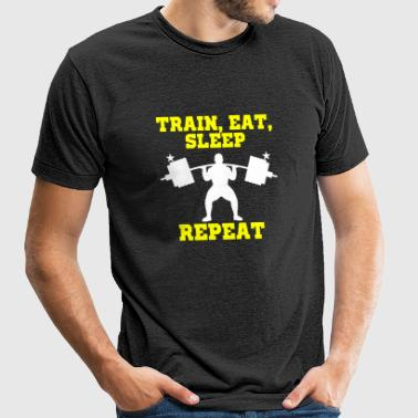 Weightlifting - Train Sleep Eat Repeat personal - Unisex Tri-Blend T-Shirt by American Apparel