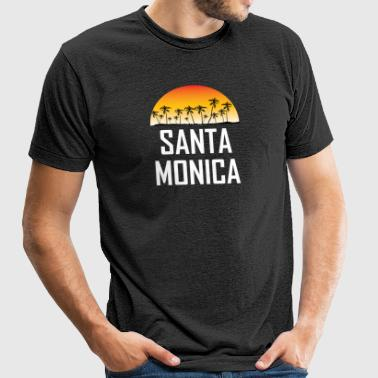 Santa Monica Sunset And Palm Trees Beach Vacation - Unisex Tri-Blend T-Shirt