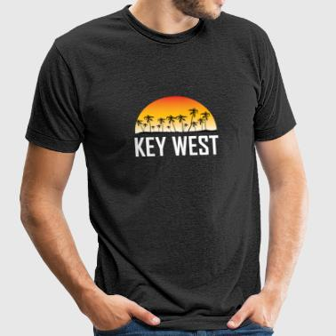 Key West Florida Sunset And Palm Trees Beach - Unisex Tri-Blend T-Shirt