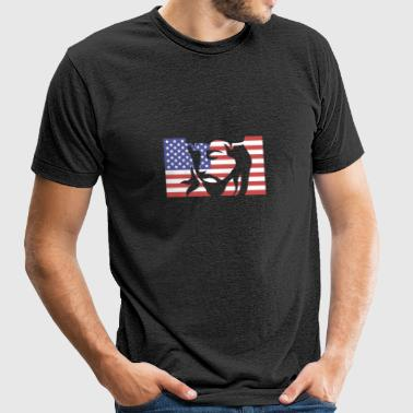 United States Flag & Jesus Christ - Unisex Tri-Blend T-Shirt