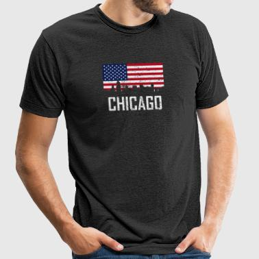 Chicago Illinois Skyline American Flag Distressed - Unisex Tri-Blend T-Shirt