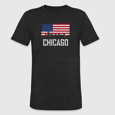 Chicago Illinois Skyline American Flag Distressed - Unisex Tri-Blend T-Shirt by American Apparel