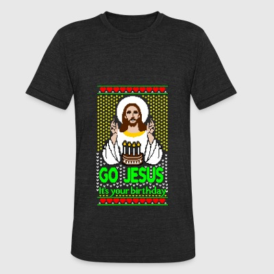 Go Jesus its your Birthday Ugly Christmas Sweater - Unisex Tri-Blend T-Shirt by American Apparel