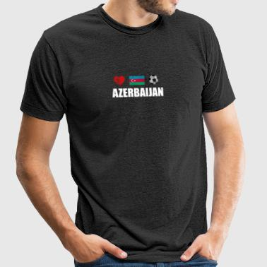 Azerbaijan Football Shirt - Azerbaijan Soccer Jers - Unisex Tri-Blend T-Shirt by American Apparel
