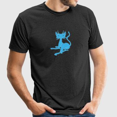Blue_laying_cat - Unisex Tri-Blend T-Shirt by American Apparel