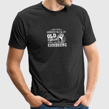 Never Underestimate Old Man Trains Kickboxing - Unisex Tri-Blend T-Shirt