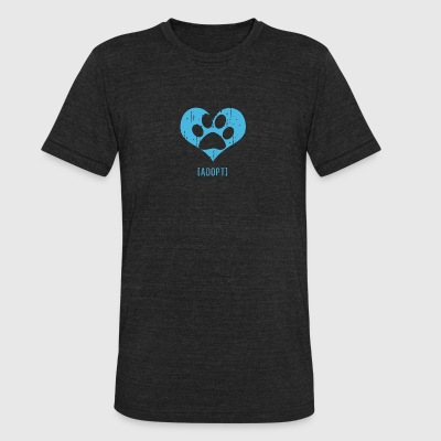 Adopt, Dog Paw Print Design - Unisex Tri-Blend T-Shirt by American Apparel
