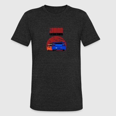 JDM Legends Nissan Skyline GTR R34 & Toyota Supra - Unisex Tri-Blend T-Shirt by American Apparel