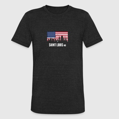 American Flag Saint Louis Skyline - Unisex Tri-Blend T-Shirt by American Apparel