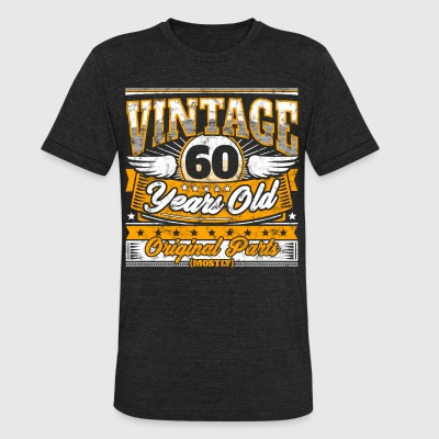 Funny 60th Birthday Shirt: Vintage 60 Years Old - Unisex Tri-Blend T-Shirt by American Apparel