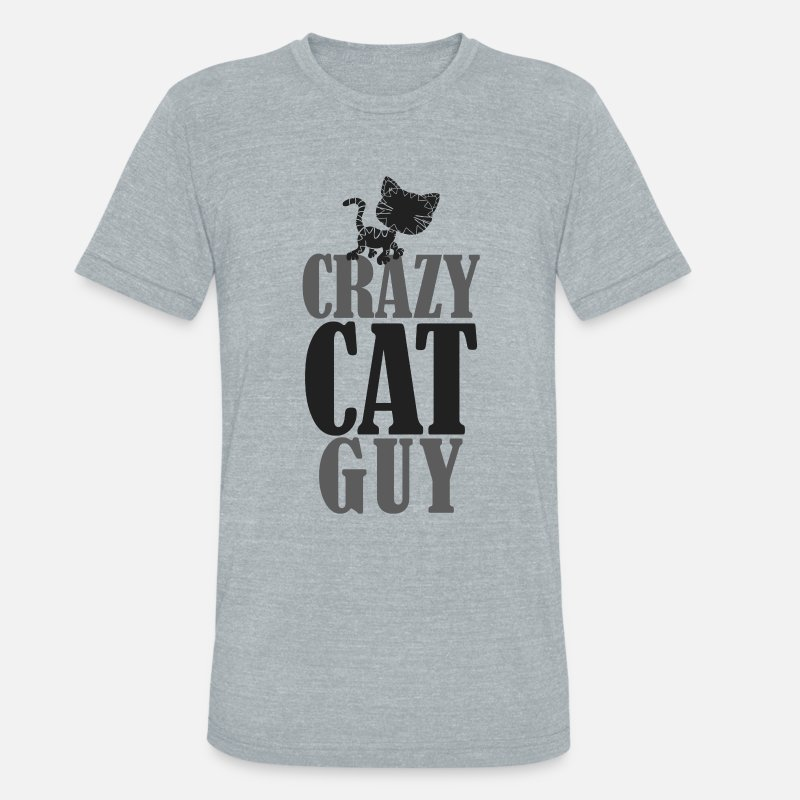 Crazy T-Shirts - Crazy Cat Guy - Unisex Tri-Blend T-Shirt heather gray