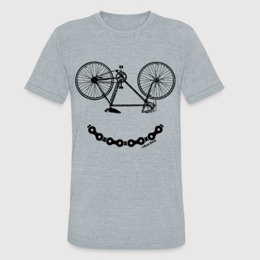 Smiley Bicycle Chain Funny Bike - Unisex Tri-Blend T-Shirt