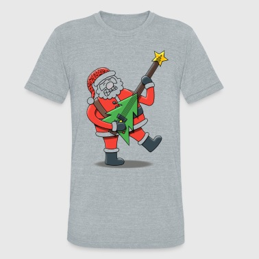 Santa With Guitar Rock Roll Santa Claus - Unisex Tri-Blend T-Shirt