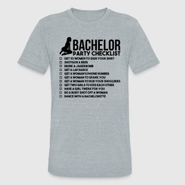 Stag Do Bachelor Party Checklist - Unisex Tri-Blend T-Shirt