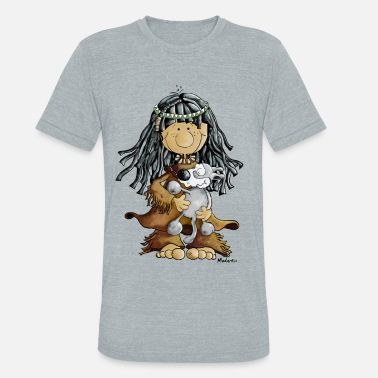 Little Wolf Little Indian Girl With A Grey Wolf Puppie - Unisex Tri-Blend T-Shirt