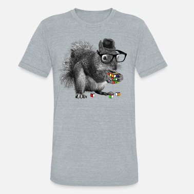 Melting Rubik's Cube Hipster Squirrel - Unisex Tri-Blend T-Shirt