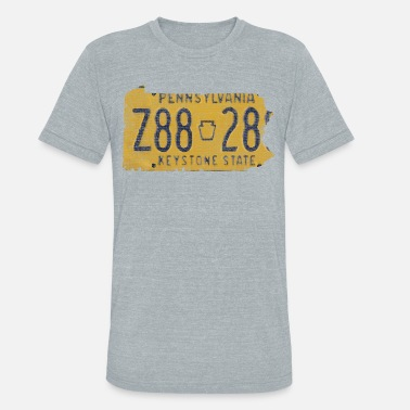 Cute Pennsylvania Clothing Pennsylvania State License Plate Clothing Apparel  - Unisex Tri-Blend T-Shirt