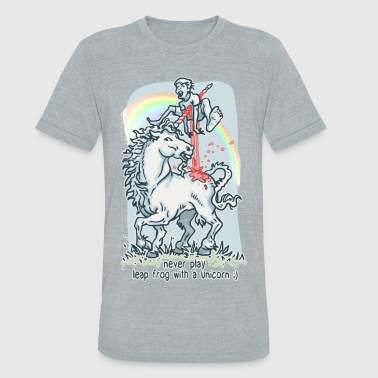 Unicorn Leap Frog Ouch - Unisex Tri-Blend T-Shirt