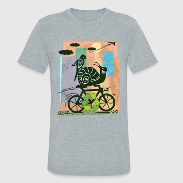 Earth Day Recycling Snail  - Unisex Tri-Blend T-Shirt
