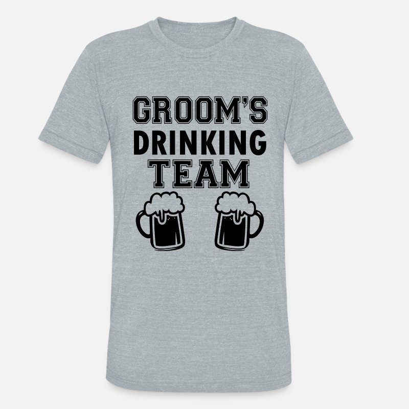 Groom T-Shirts - Groom's Drinking Team funny groomsmen - Unisex Tri-Blend T-Shirt heather gray