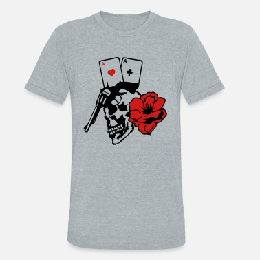 Gun Poker dead skull head poker as armed gun  - Unisex Tri-Blend T-Shirt