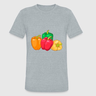 Red Yellow Green Green Red Yellow Orange Paprika Pepper - Unisex Tri-Blend T-Shirt