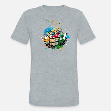 Melting Rubik's Cube Colourful Splatters - Unisex Tri-Blend T-Shirt