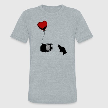 Pussy Graffiti Cat is watching TV - Unisex Tri-Blend T-Shirt