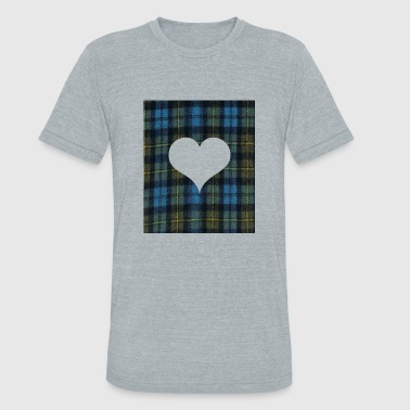 White Tartan Heart for Tatar Day am and proud scots - Unisex Tri-Blend T-Shirt