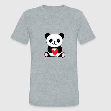 Heart Panda Panda with heart - Unisex Tri-Blend T-Shirt