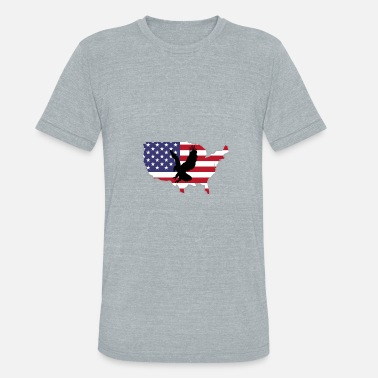 4th July T-Shirt With American Flag Eagle - Unisex Tri-Blend T-Shirt