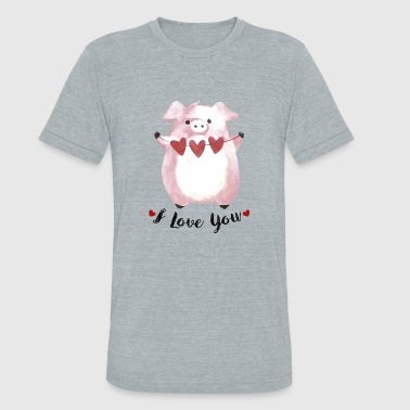 Hand drawn valentine animal - Unisex Tri-Blend T-Shirt