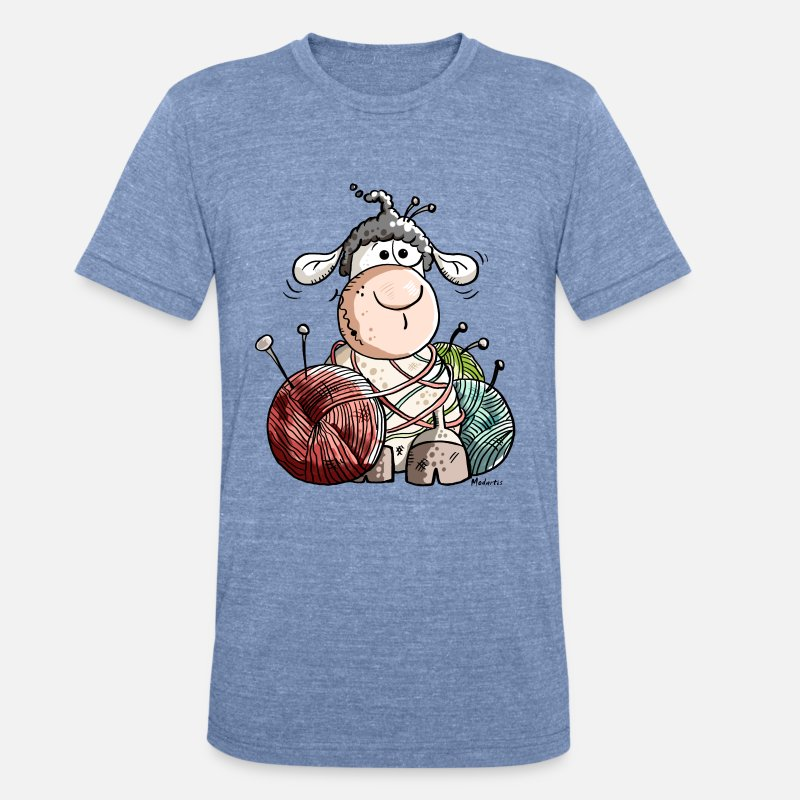 Funny Sheep With Wool Ball Unisex Tri-Blend T-Shirt - heather Blue