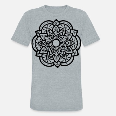 Black Lotus Ornamental Lotus Mandala Black - Unisex Tri-Blend T-Shirt
