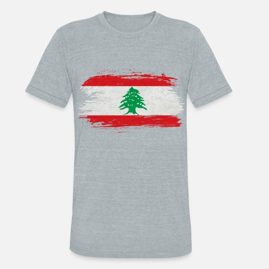 Lebanon T-Shirts - Lebanon Vintage Flag / Gift Beirut Arabia - Unisex Tri-Blend T-Shirt heather gray