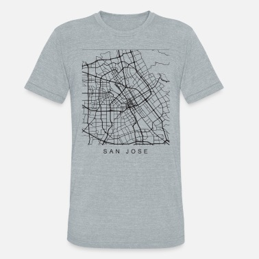 San Jose San Jose CA Minimalist City Street Map Dark Design - Unisex Tri-Blend T-Shirt