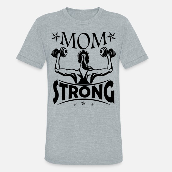 Lover T-Shirts - Gym Lover Mom Strong Shirt - Unisex Tri-Blend T-Shirt heather gray