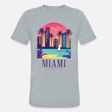 Miami South Beach Miami Shirt Florida Skyline USA - Unisex Tri-Blend T-Shirt