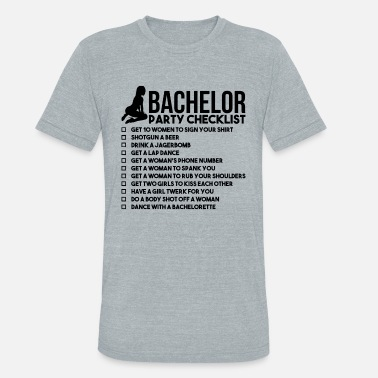 Stag Bachelor Party Checklist - Unisex Tri-Blend T-Shirt