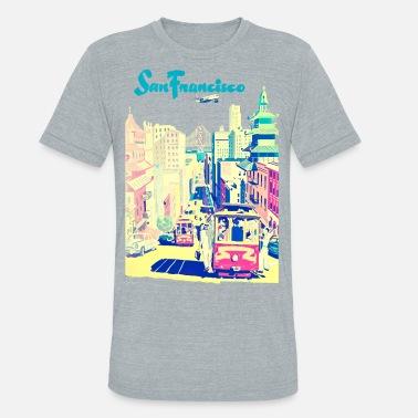 93fdc67b Drawing San Francisco vintage mode - Unisex Tri-Blend T-Shirt