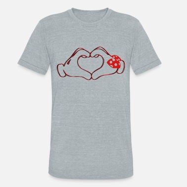 Mickey Heart Hands mickeys hand heart love - Unisex Tri-Blend T-Shirt