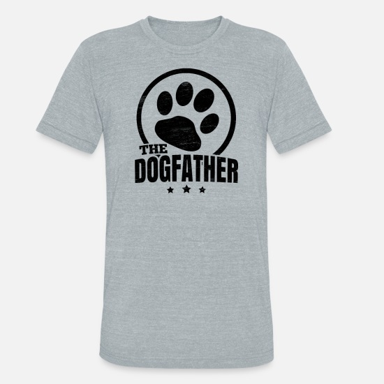 Pug T-Shirts - The Dogfather Dog Paw Gift - Unisex Tri-Blend T-Shirt heather gray