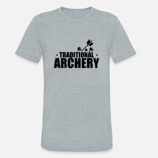 Archer T-Shirts - Bow and Arrow Bow Hunting Archery Archer Bullseye - Unisex Tri-Blend T-Shirt heather gray